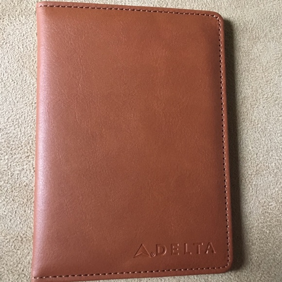 42a04a4d05f4 Delta Airlines branded leather passport holder